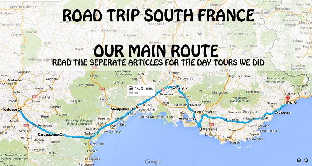 South France Road Trip Map - South France Itinerary