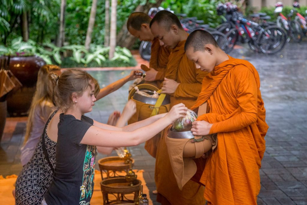 Monks offering - THAILAND - Four Seasons Chiang Mai: A luxury treasure in the Mae Rim Valley