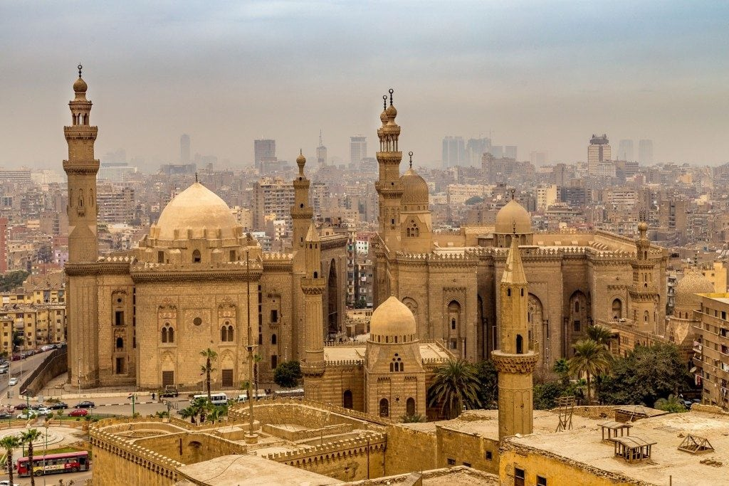 EGYPT-Islamic-Cairo-The-historical-Muizz-Street-and-Al-Rifai-Sultan-Hassan-Mosque