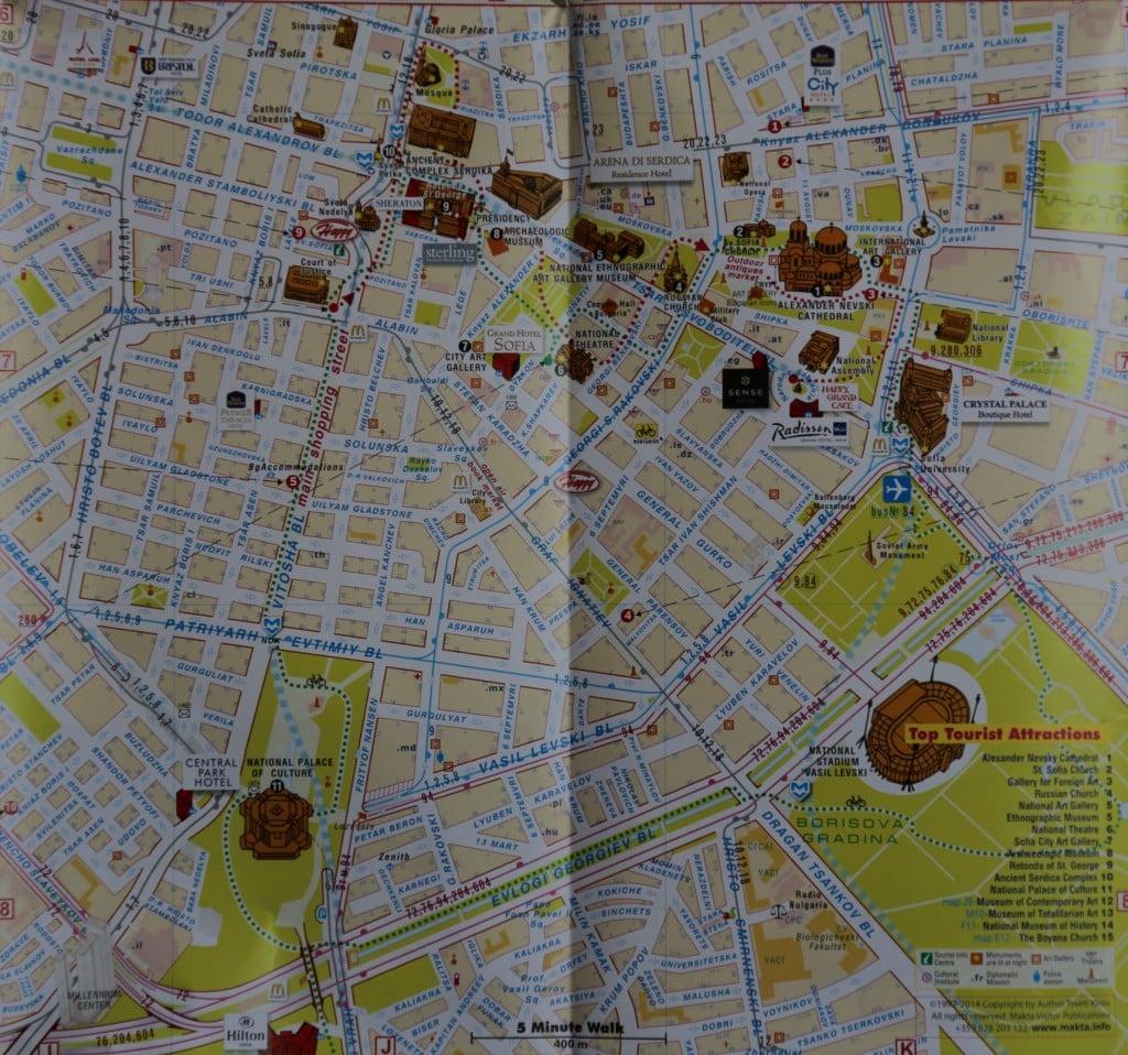 Bulgaria Sofia Tourist Map